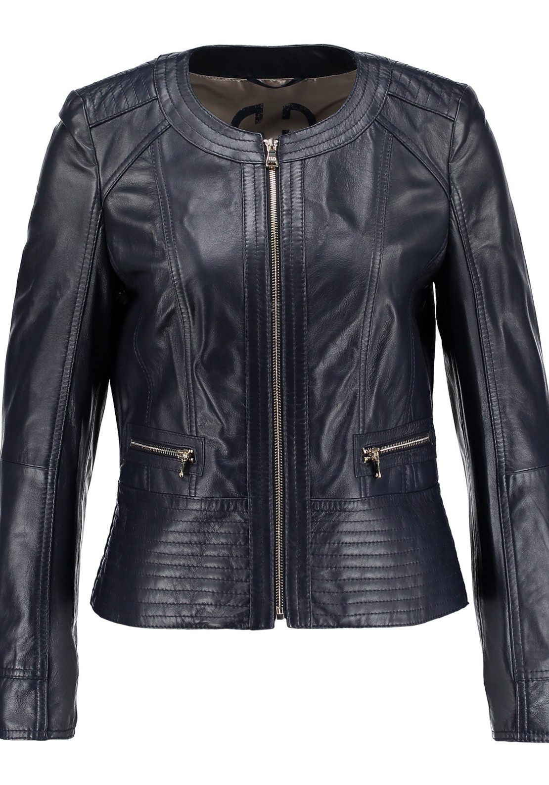 Gerry Weber Leather Bomber Jacket, Navy