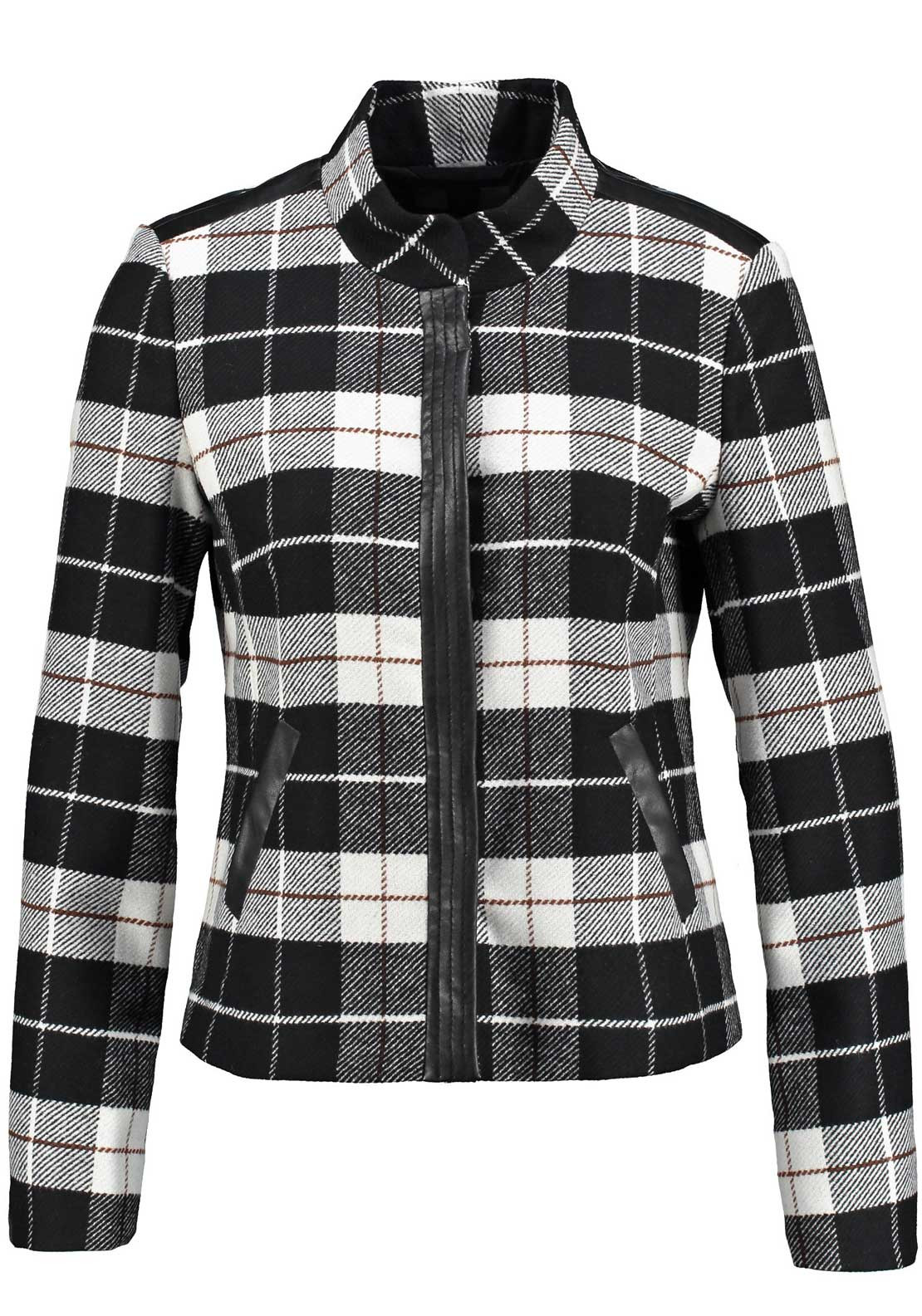 Gerry Weber Checked Wool Rich Jacket, Black and White