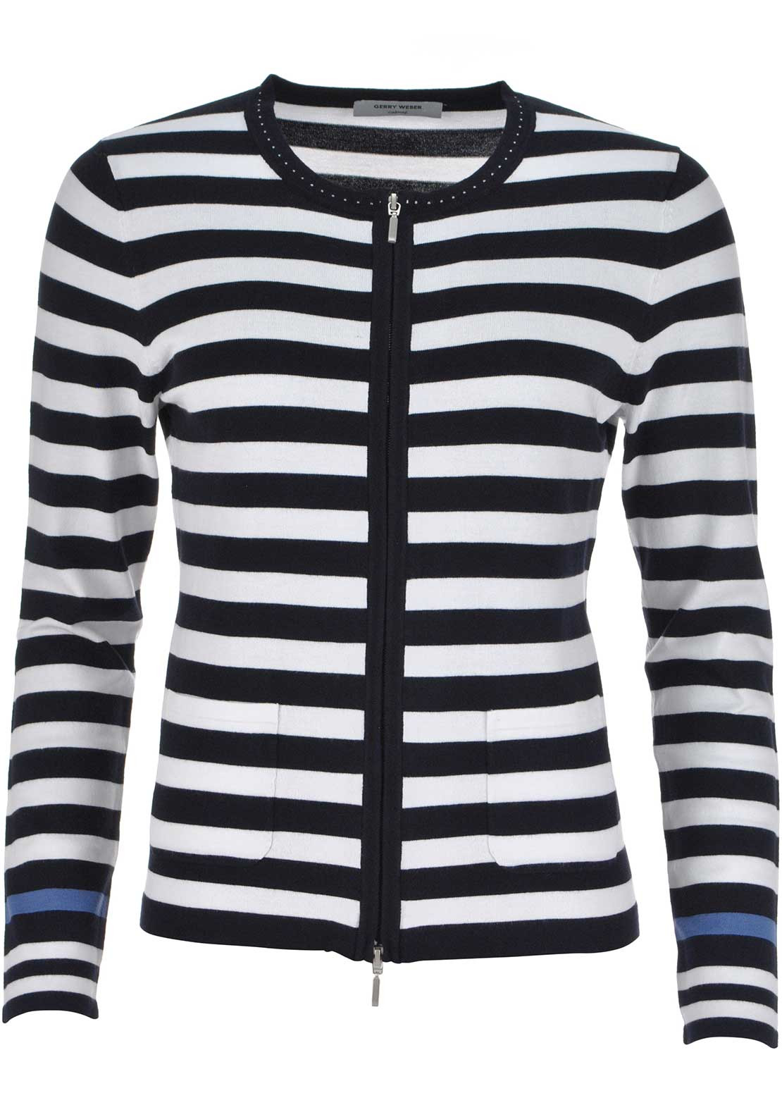 Gerry Weber Striped Print Zip Front Fine Knit Cardigan, Navy and White