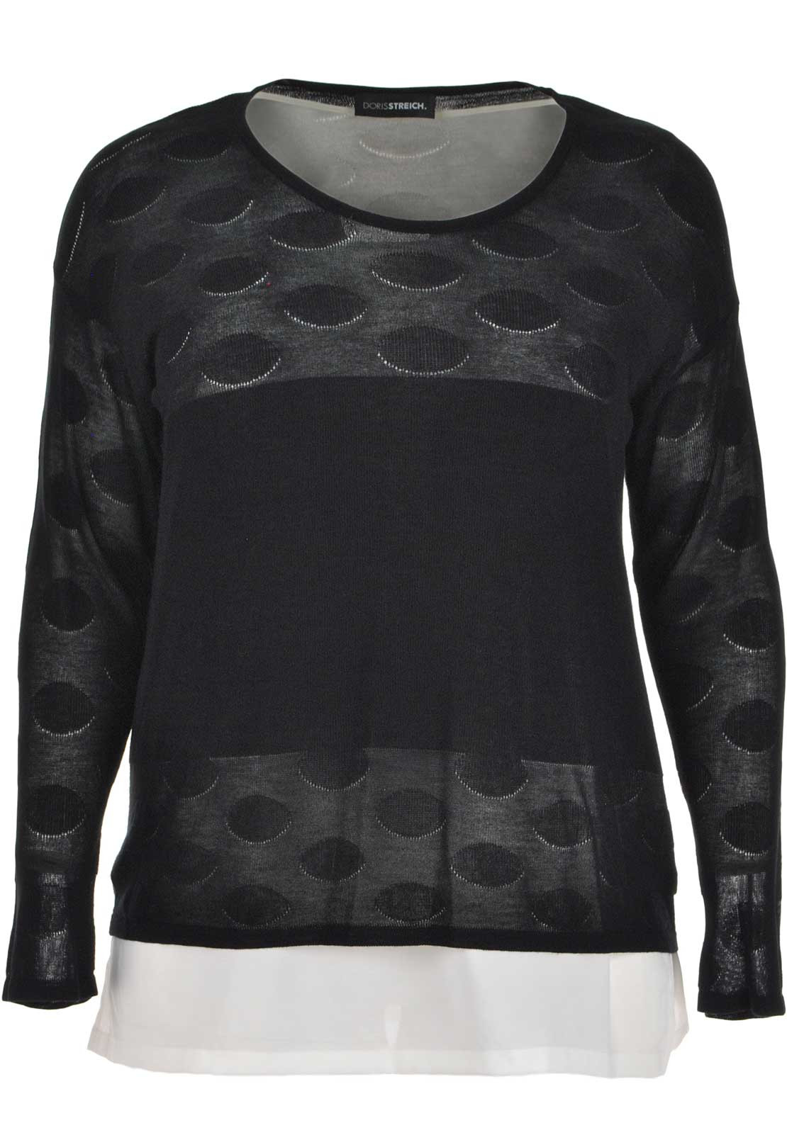 Doris Streich Double Layer Long Sleeve Top, Black and White