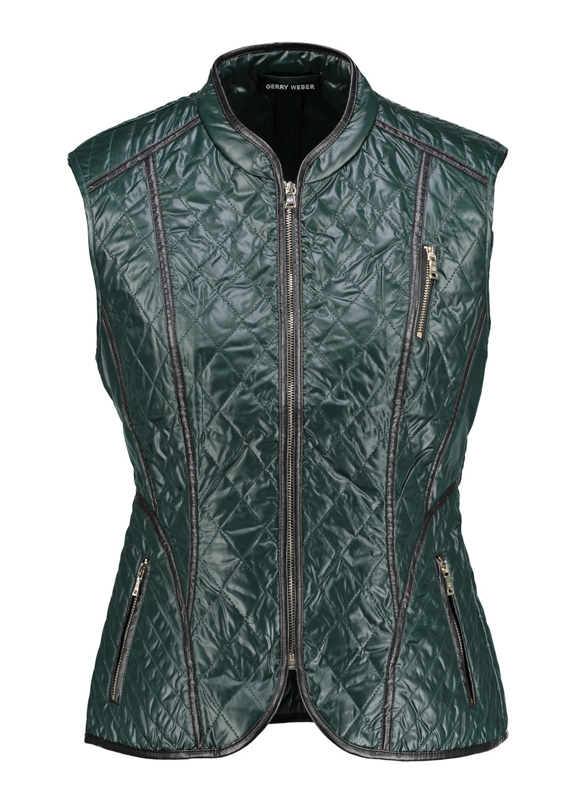 Gerry Weber Quilted Shimmer Gilet, Forest Green