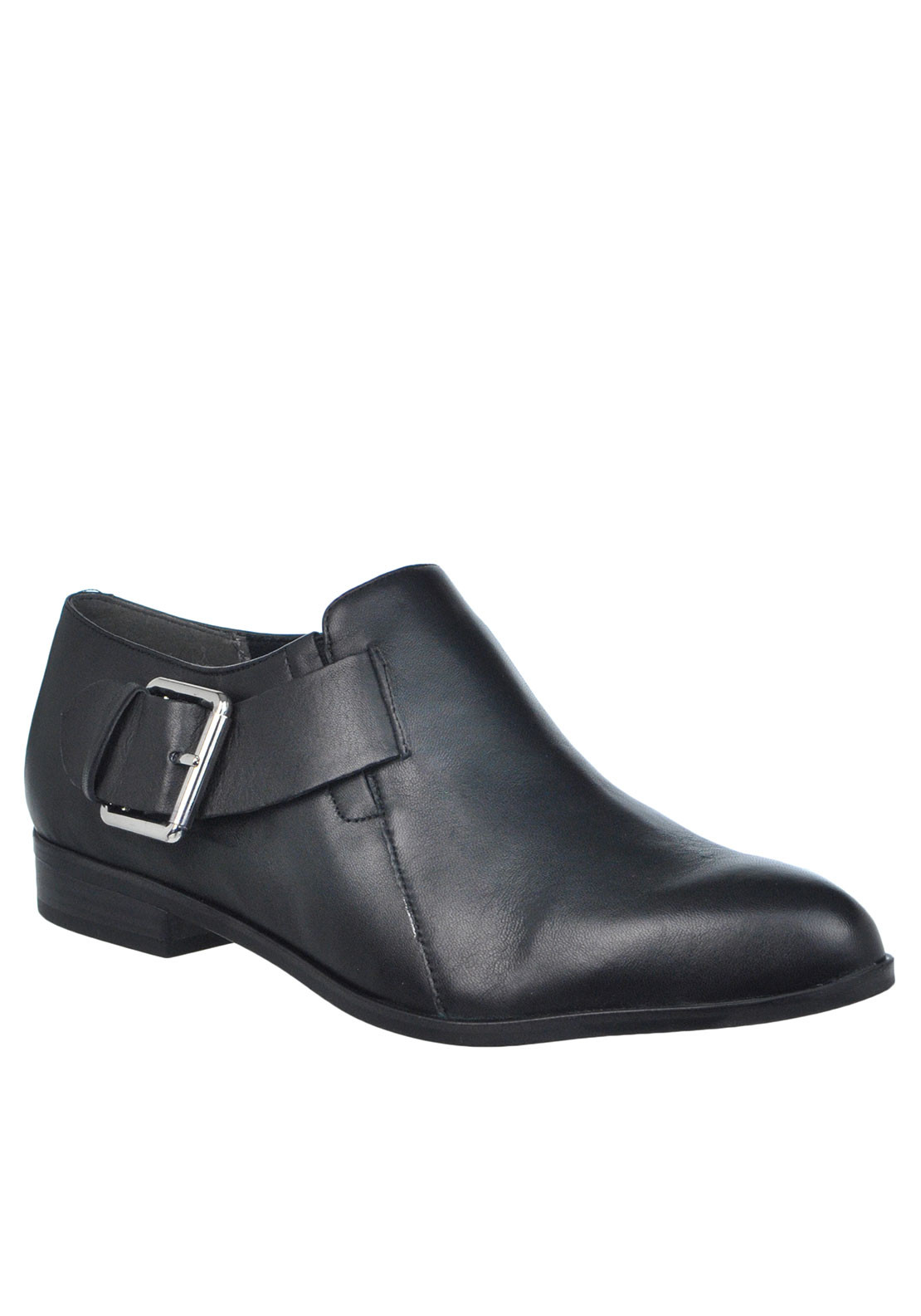 Tamaris Leather Buckle Detail Shoes, Black