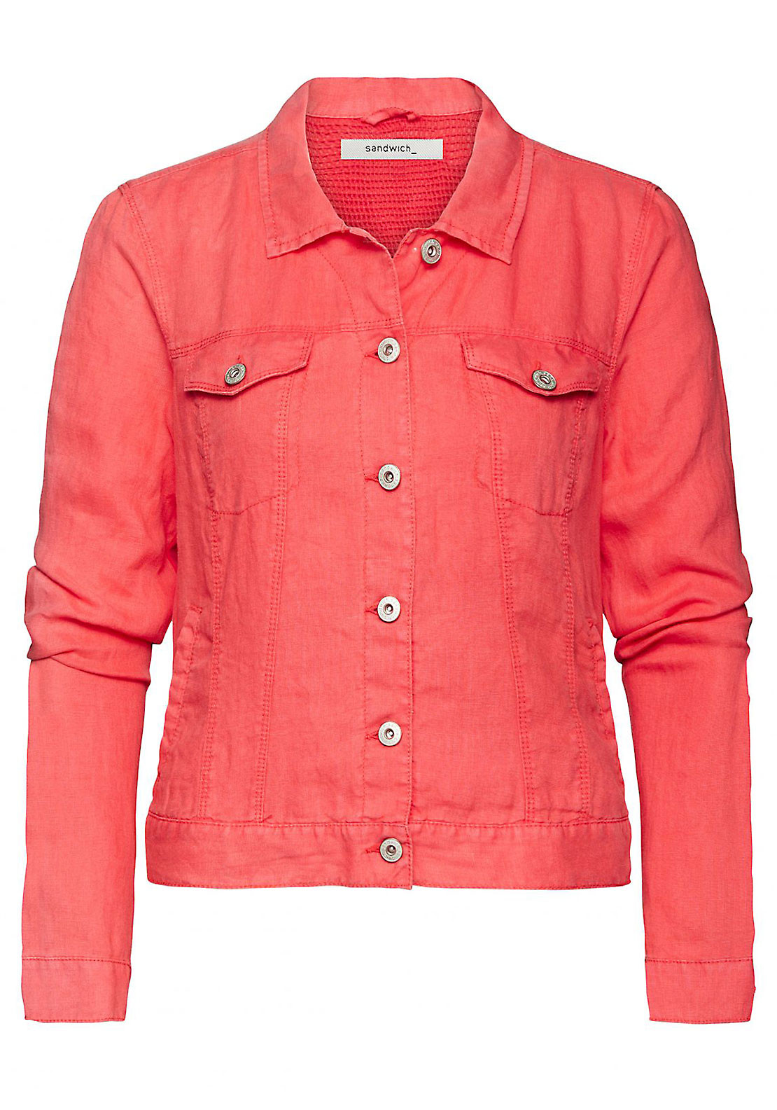 Sandwich Denim Style Linen Jacket, Red