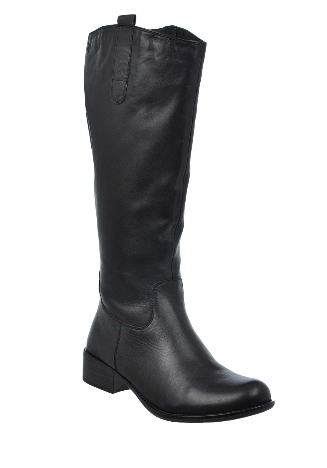 Caprice Leather Long XL Rider Boots, Black