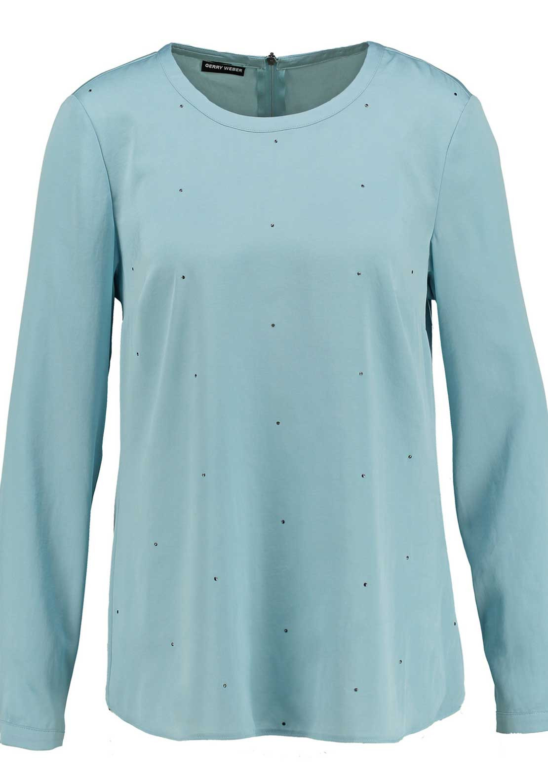Gerry Weber Stud Embellished Satin Long Sleeve Blouse, Pale Blue
