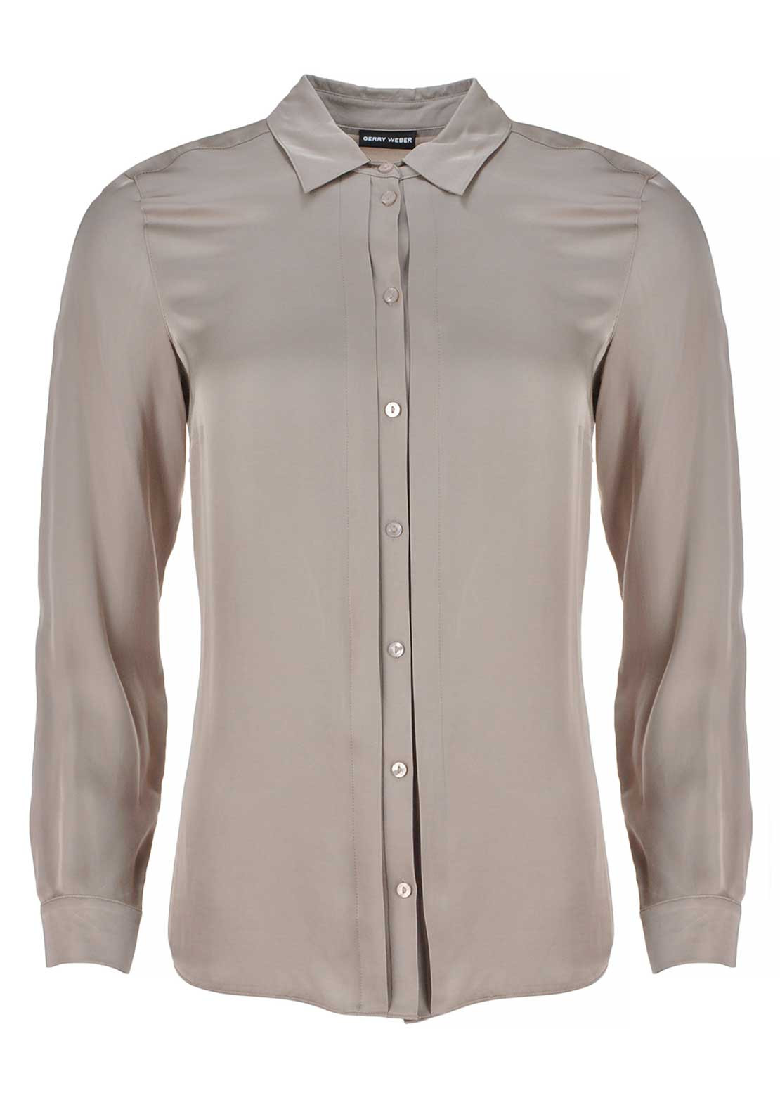 Gerry Weber Faux Silk Long Sleeve Blouse, Taupe