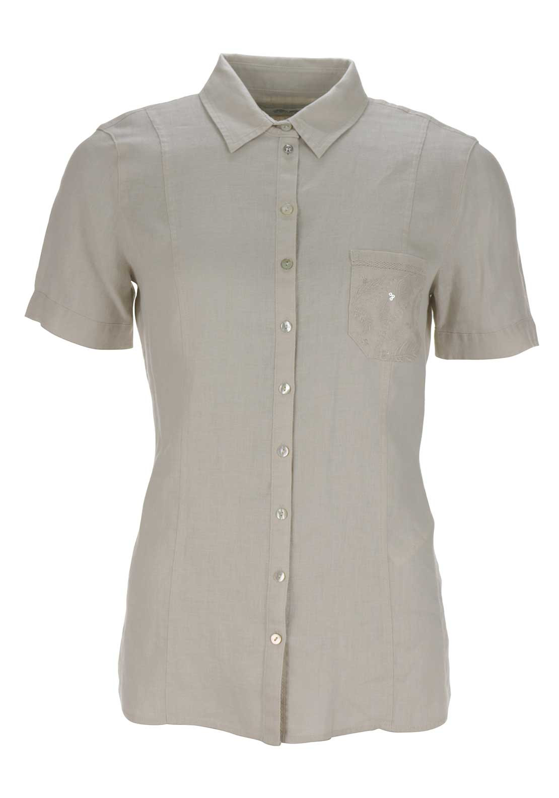 Gerry Weber Embellished Pocket Short Sleeve Blouse, Beige