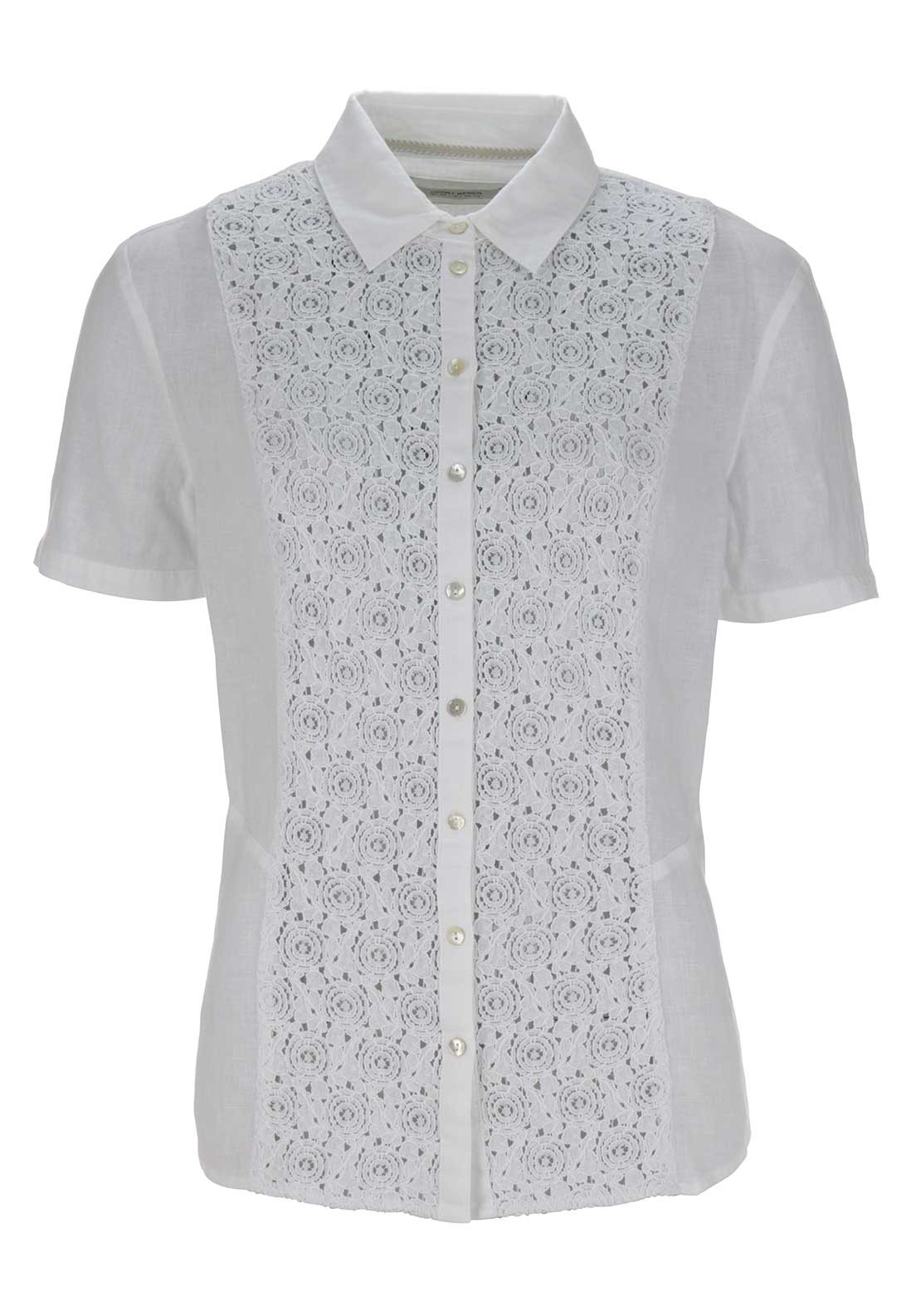 Gerry Weber Sheer Lace Trim Short Sleeve Linen Blouse, White
