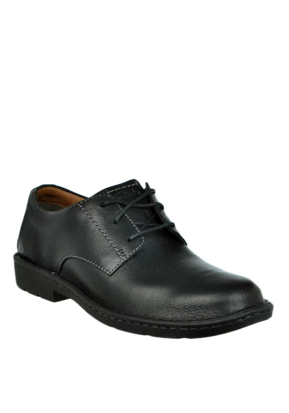 Clarks Mens Stratton Way Lace Up Leather Shoe, Black