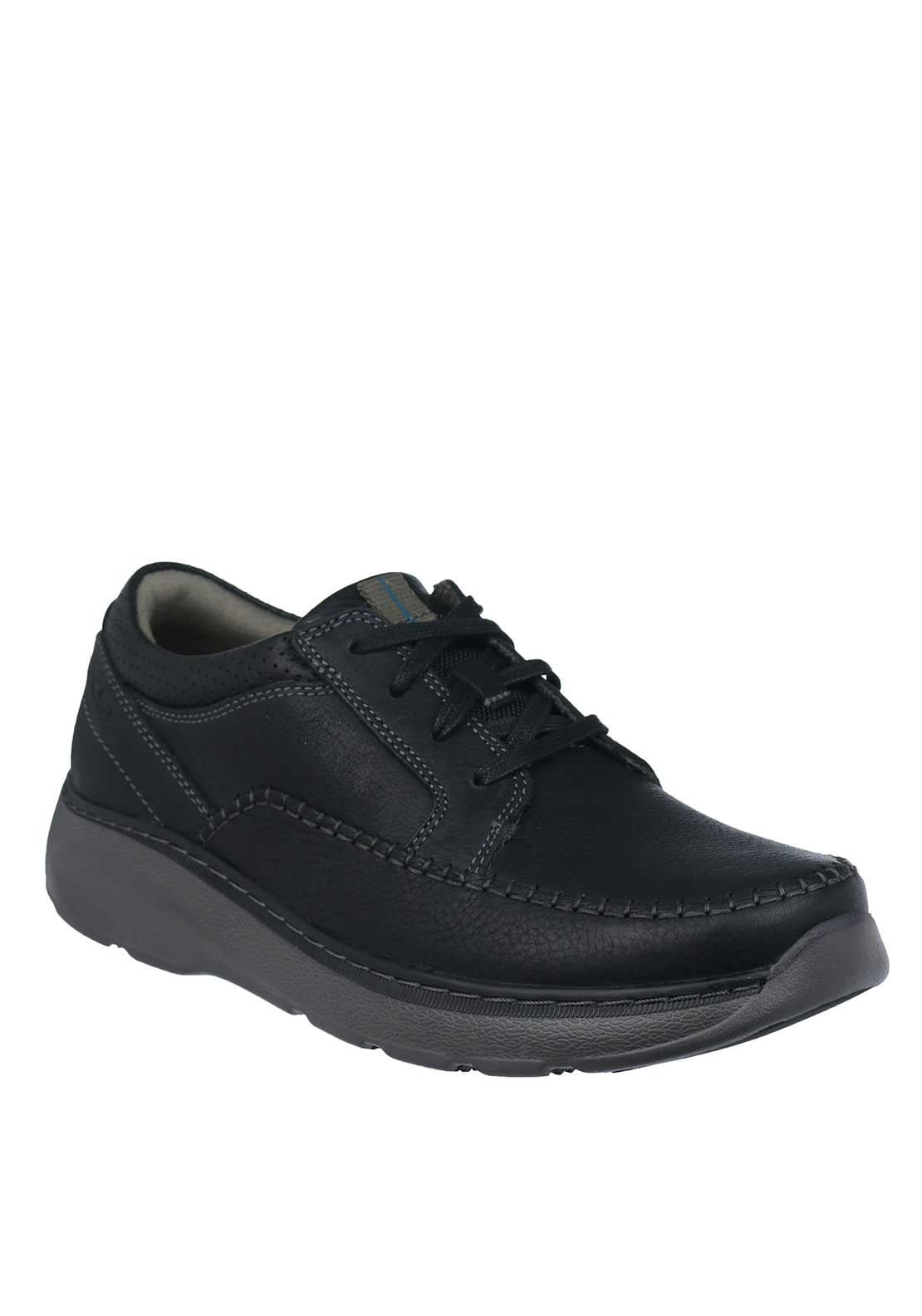 Clarks Mens Charton Vibe Lace Up Leather Comfort Shoe, Black