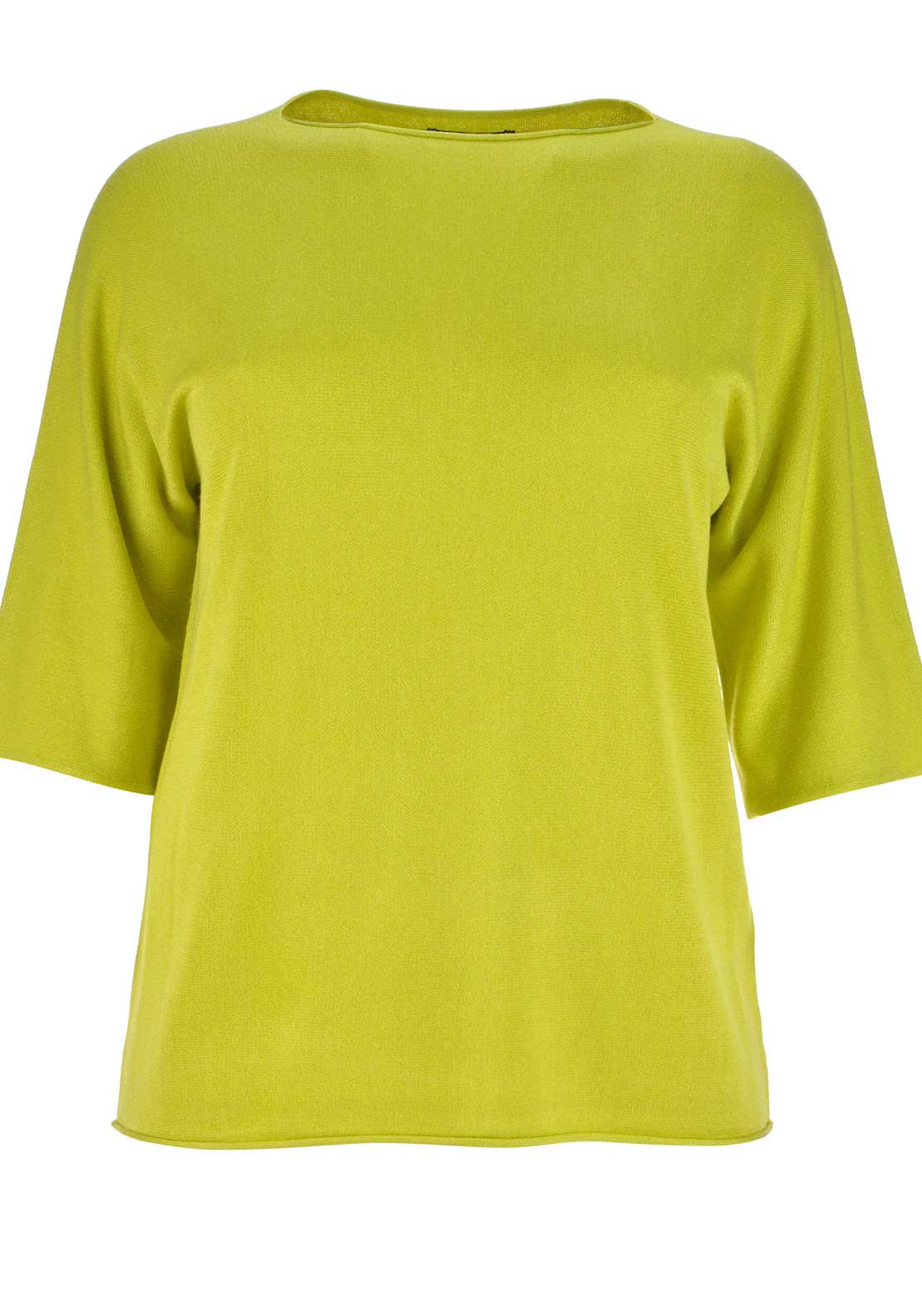 Doris Streich Cropped Sleeve Fine Knit Sweater Jumper, Lime Green