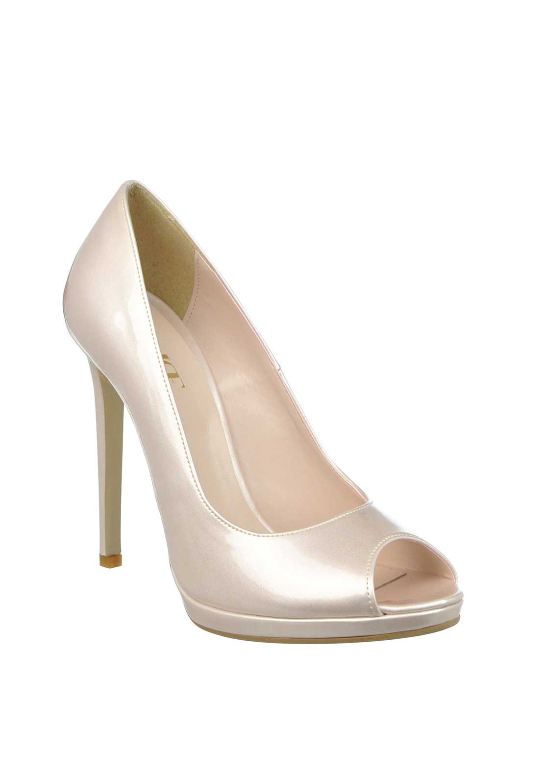 McElhinney's Patent Peep Toe Heeled Shoes, Pink Champagne