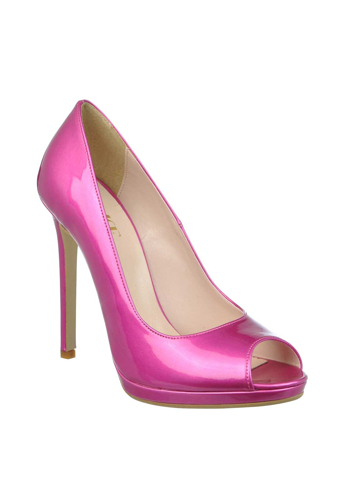 McElhinney's Patent Peep Toe Heeled Shoes, Fuschia