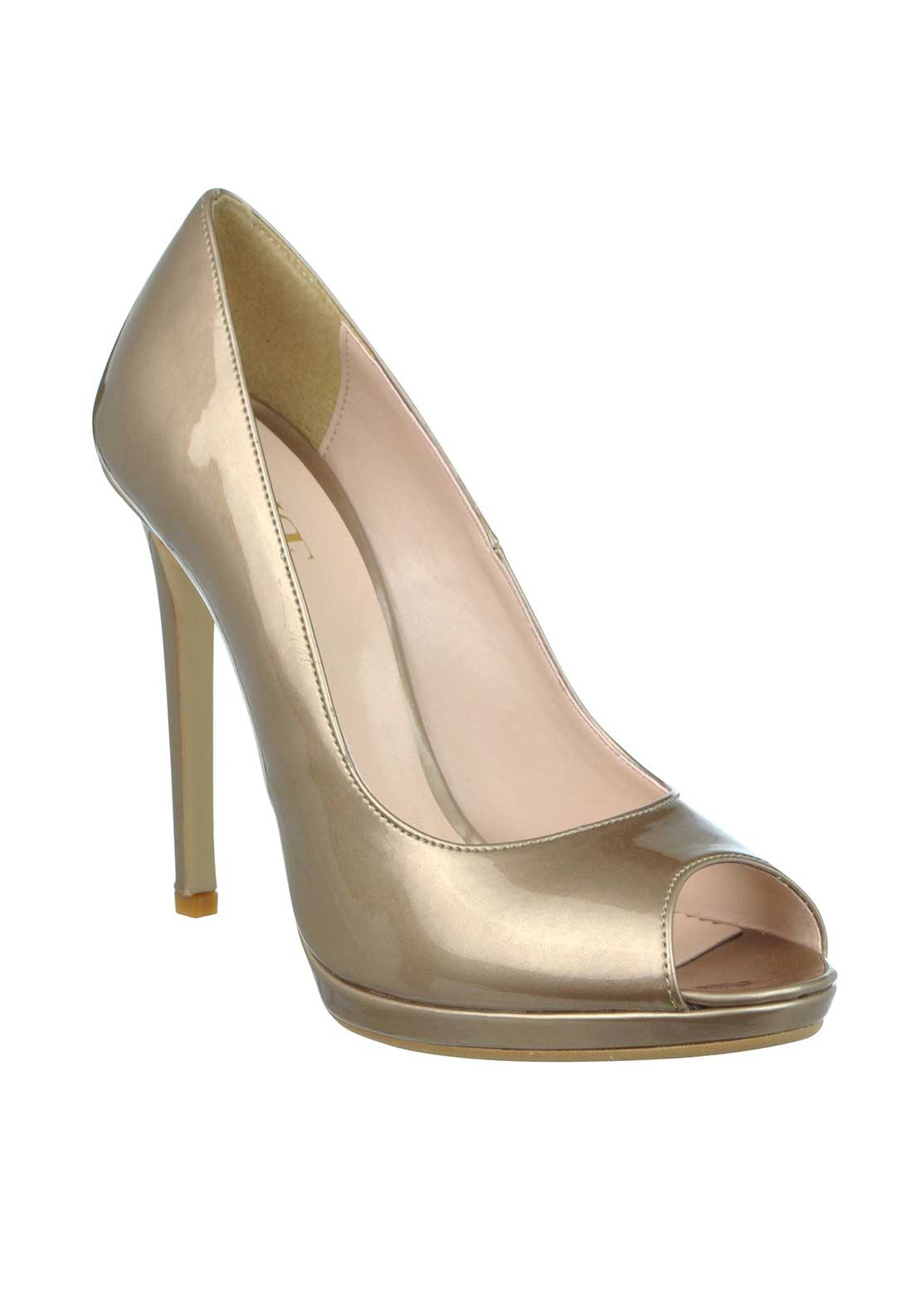 McElhinney's Patent Peep Toe Heeled Shoes, Taupe