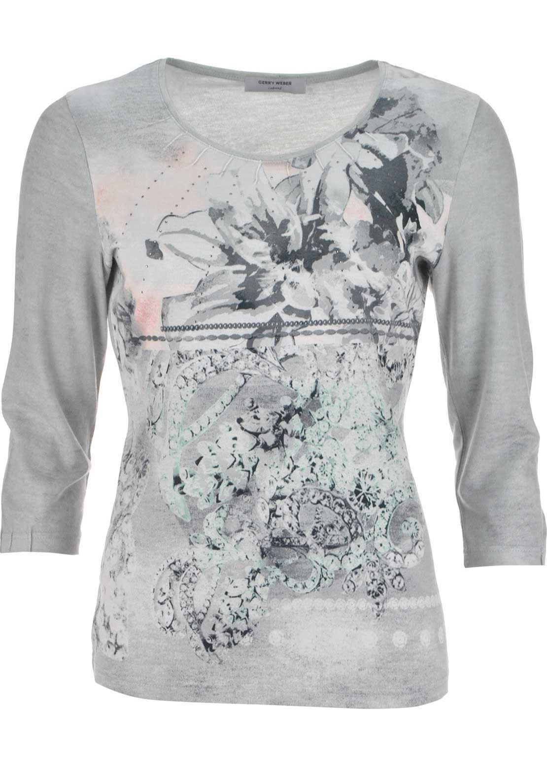 Gerry Weber Printed Cropped Sleeve Round Neck Top, Grey Multi