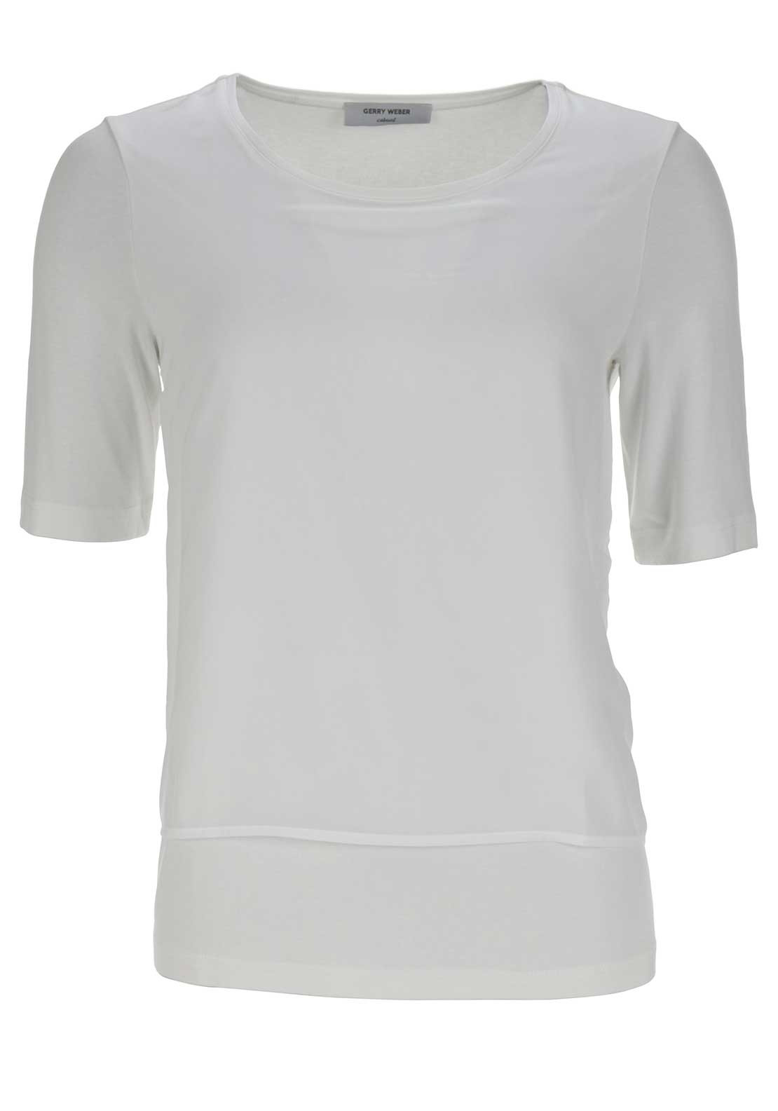 Gerry Weber Chiffon Overlay Short Sleeve Jersey Top, White