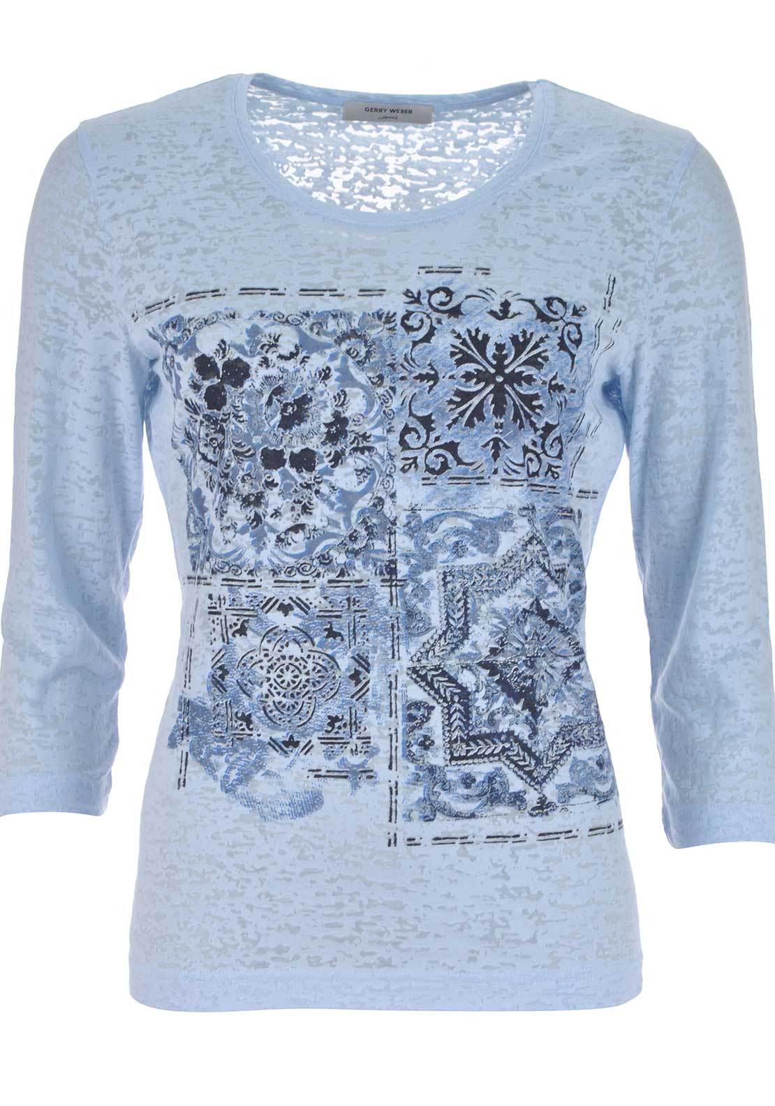 Gerry Weber Printed Cropped Sleeve T-Shirt, Pale Blue