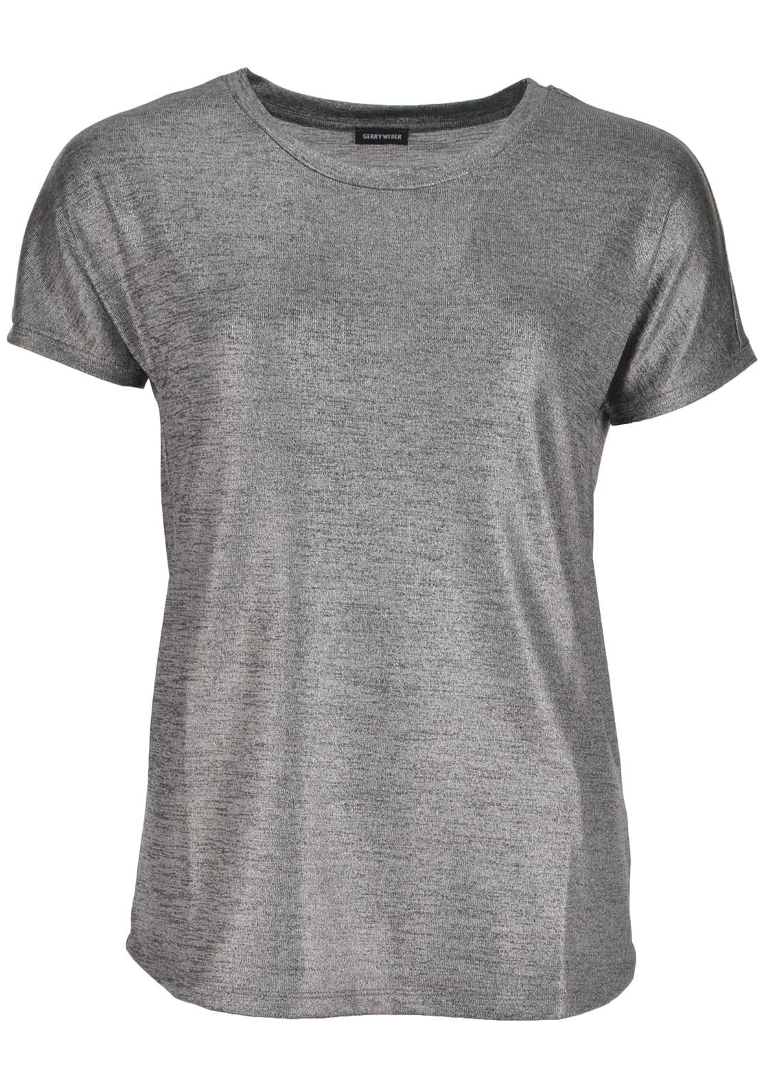 Gerry Weber Shimmer Short Sleeve Top, Silver Grey