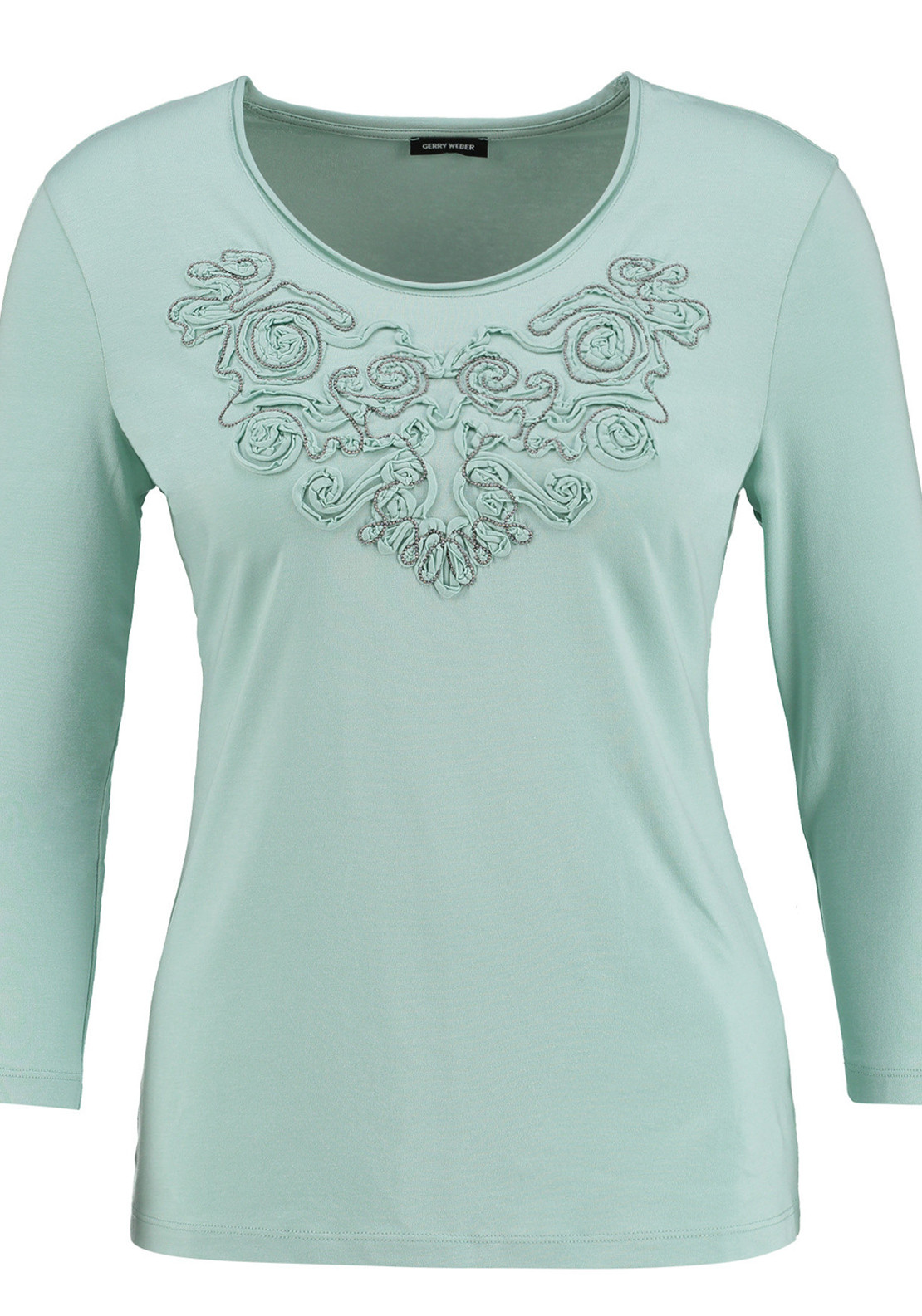 Gerry Weber Stud Embellished Ribbon Print Cropped Sleeve Top, Mint Green