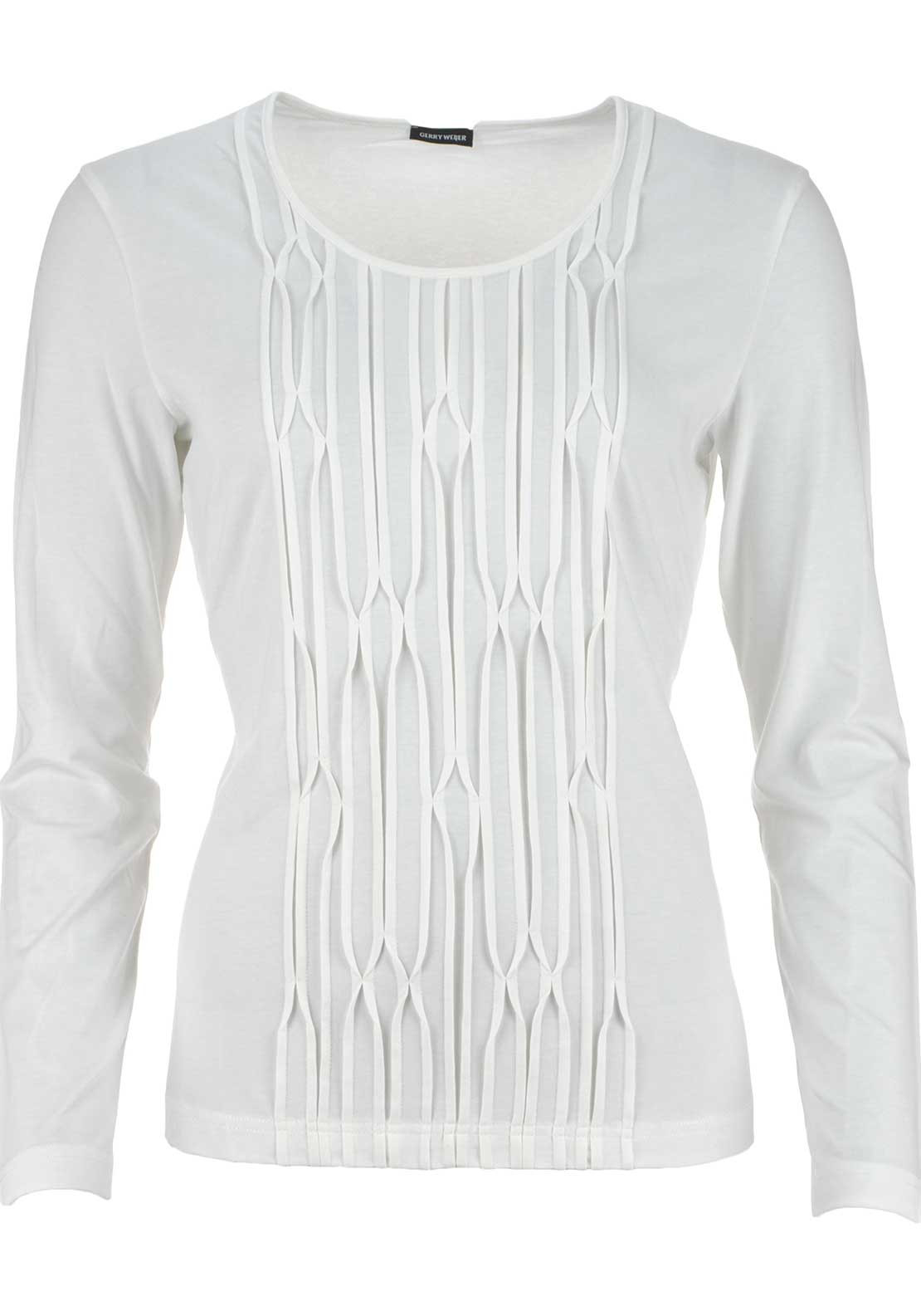Gerry Weber Embossed Print Long Sleeve T-Shirt, Ivory