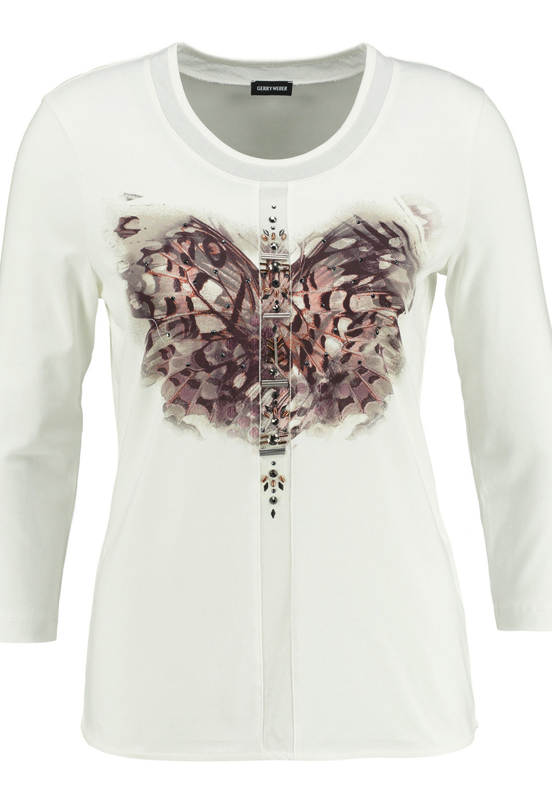Gerry Weber Embellished Butterfly Print T-Shirt, Ivory