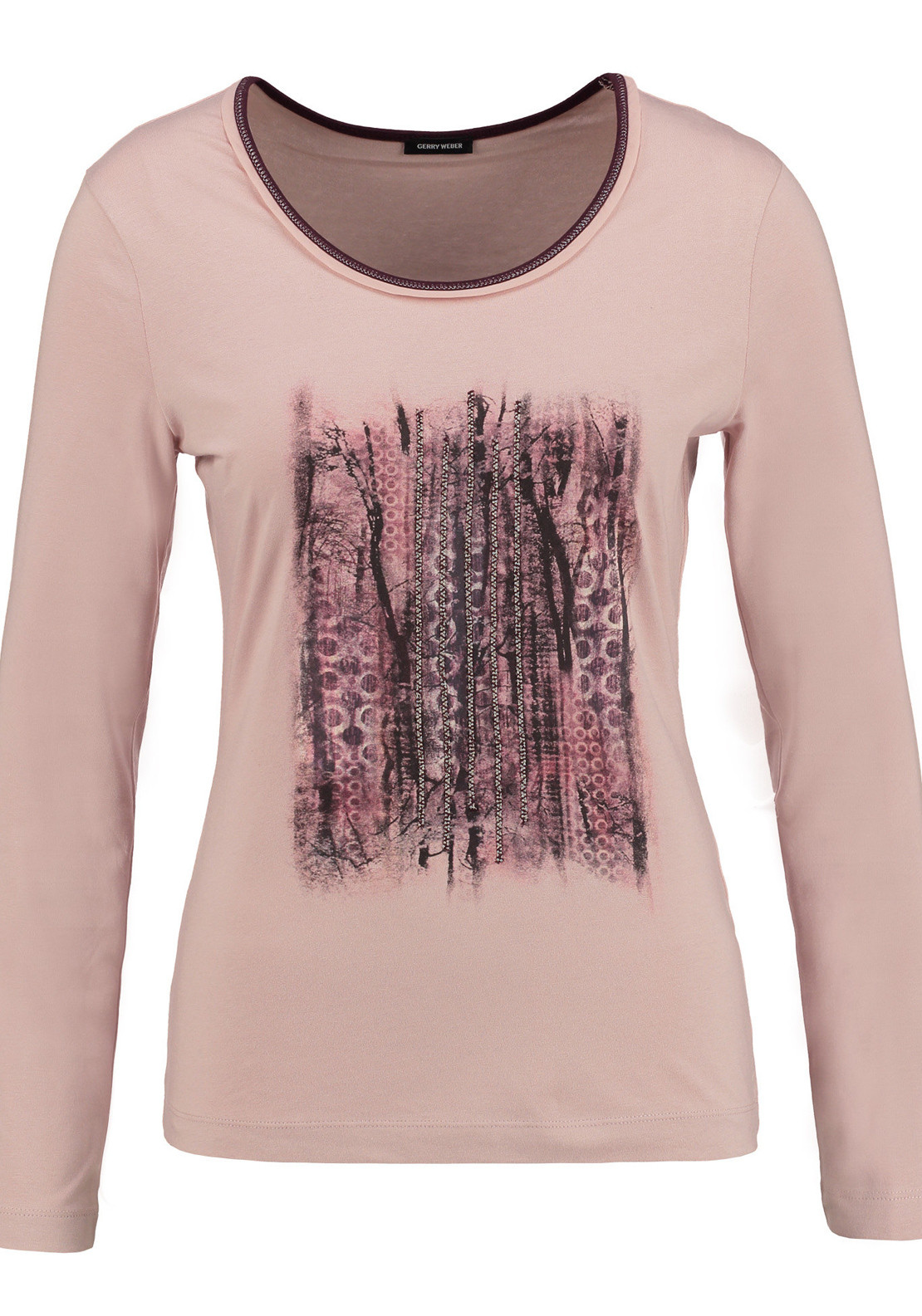 Gerry Weber Stud Embellished Printed Long Sleeve T-Shirt, Pink