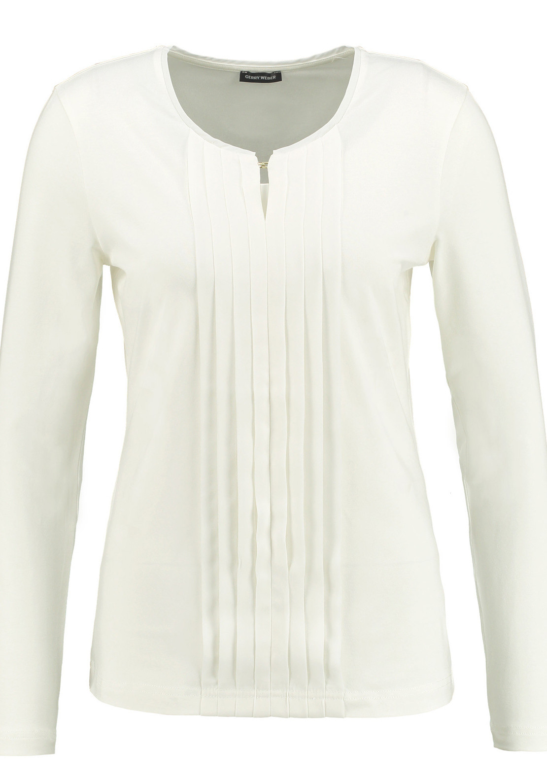 Gerry Weber Pleated Panel Long Sleeve T-Shirt, Ivory
