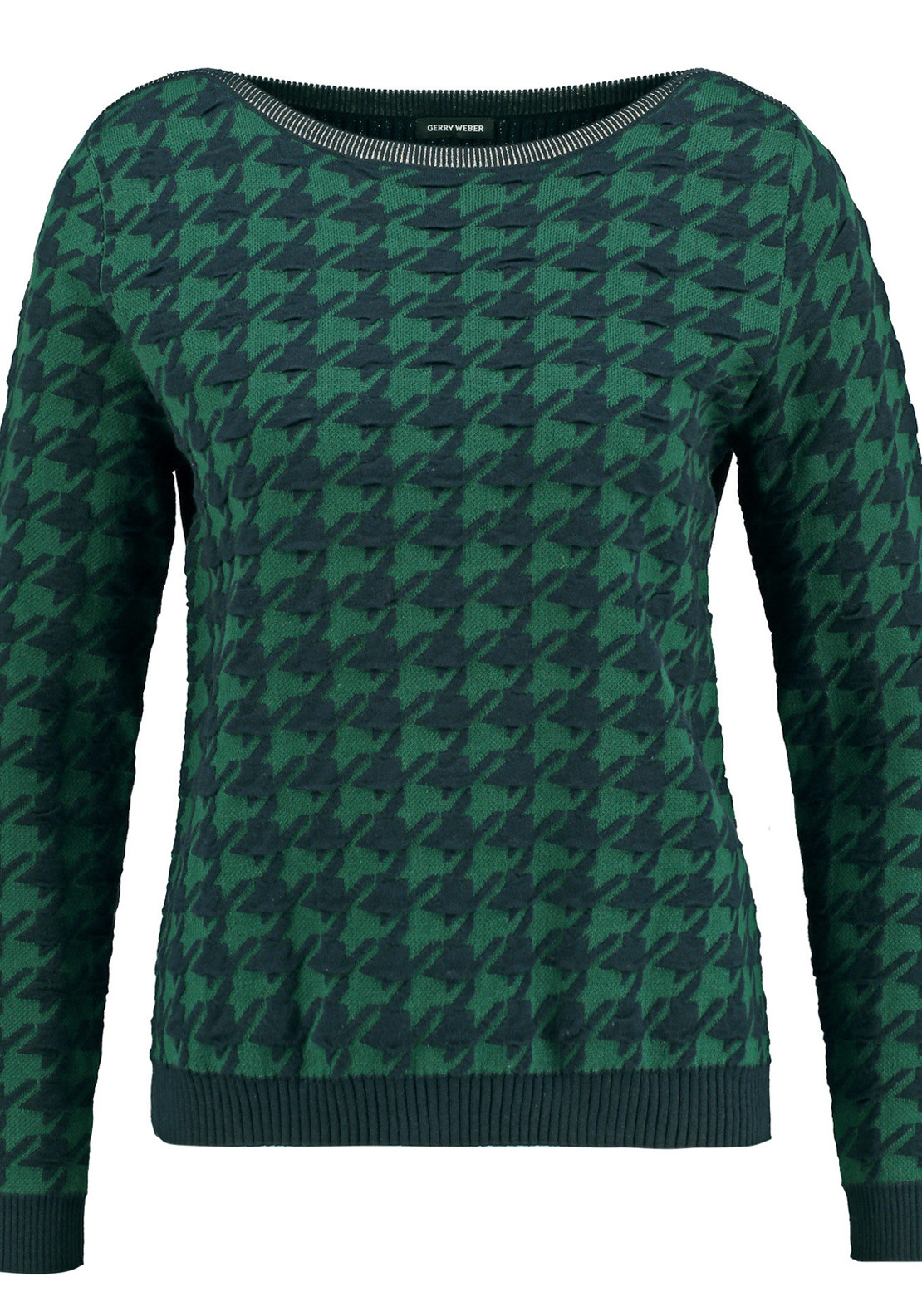 Gerry Weber Houndstooth Print Cotton Sweater Jumper, Green and Navy
