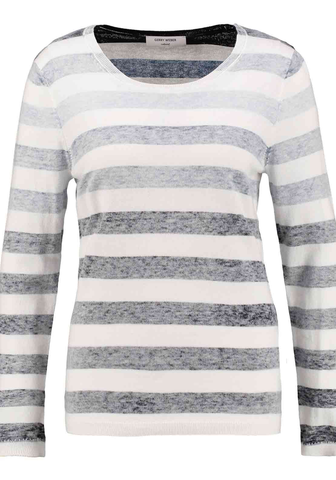 Gerry Weber Fade Effect Striped Sweater Jumper, White and Navy