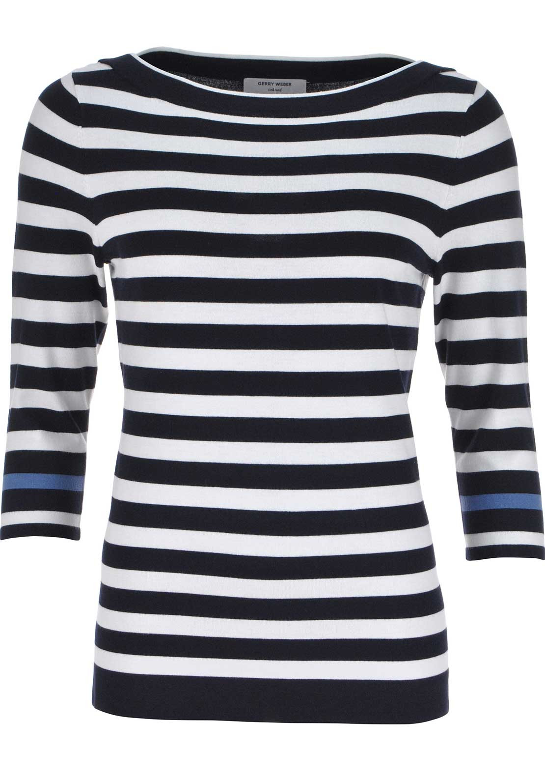 Gerry Weber Striped Print Fine Knit Sweater Jumper, Navy and White