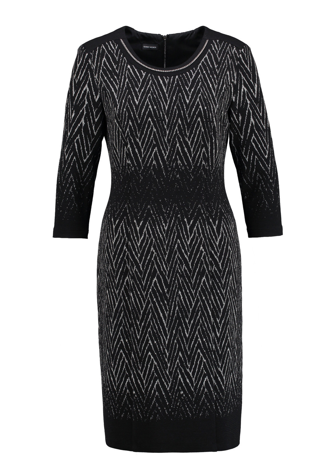 Gerry Weber Zig-Zag Print Jersey Cropped Sleeve Dress, Black