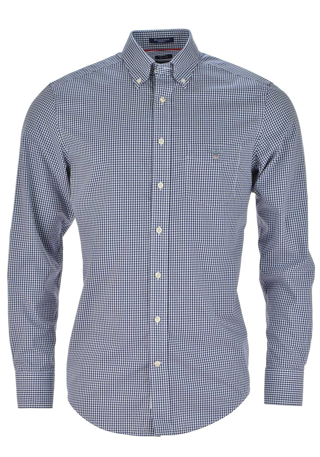 Gant Mens Small Gingham Poplin Check Shirt, Persian Blue