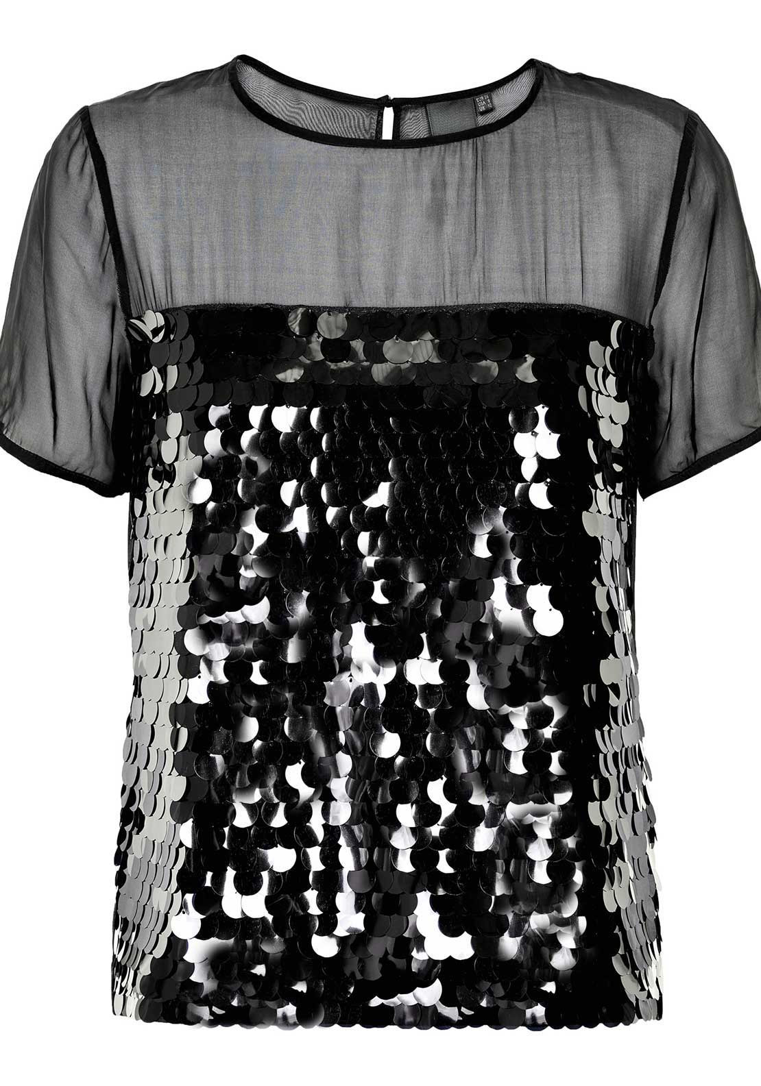 Inwear Annie Sequin Embellished Chiffon Short Sleeve Top, Black