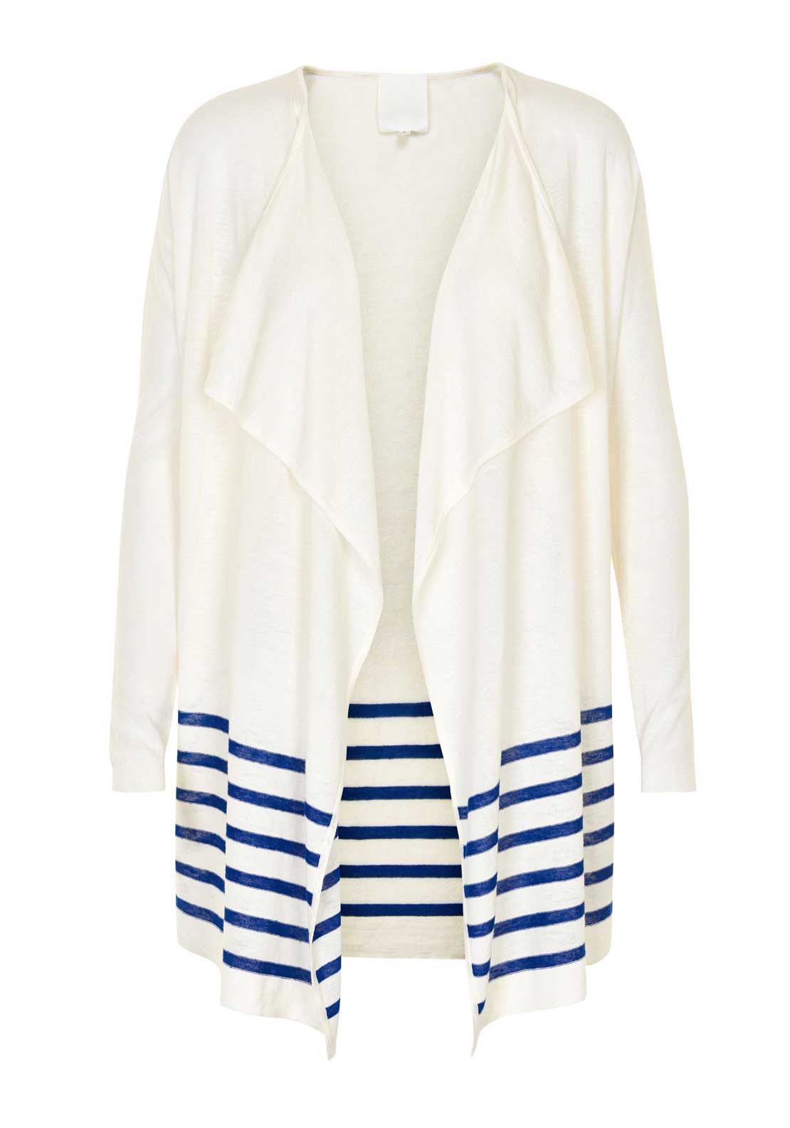 Inwear Naia Striped Panel Linen Blend Cardigan, Off White
