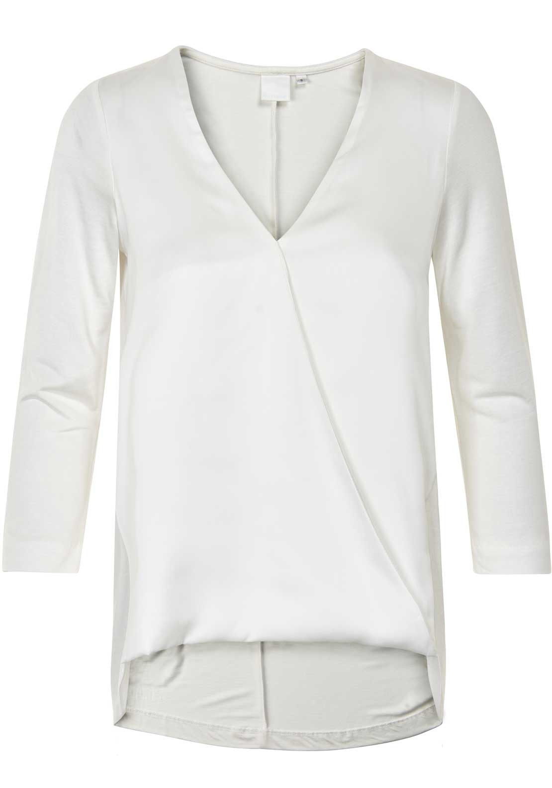 Inwear Nana Wrap Front Cropped Sleeve Blouse, Off White