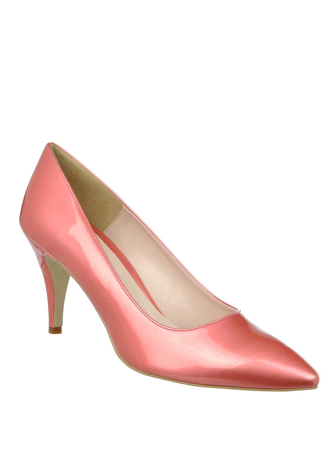 McElhinney's Patent Pointed Toe Low Heeled Shoes, Pink