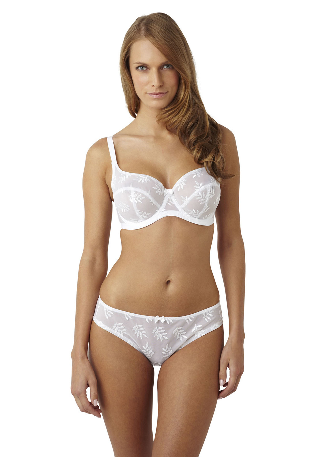 Panache Tango Embroidered Balconette Bra, White