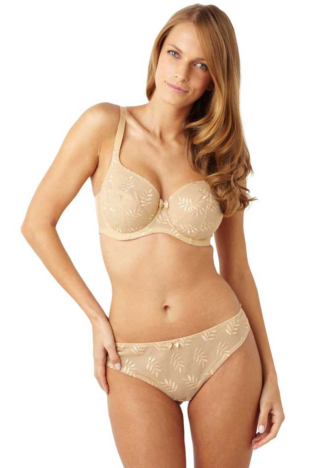 Panache Tango Embroidered Briefs, Nude