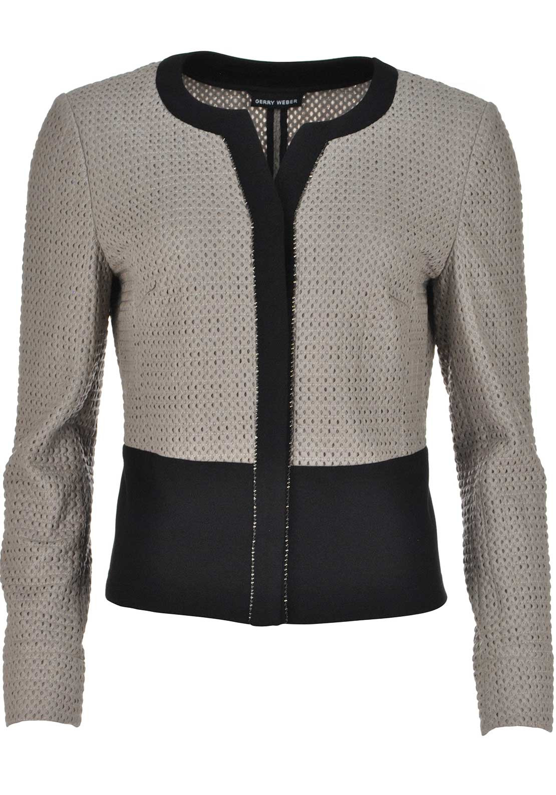 Gerry Weber Laser Cut Out Cropped Leather Look Jacket, Taupe