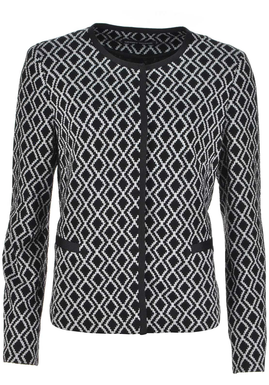 Gerry Weber Geometric Print Jersey Jacket, Black and Grey