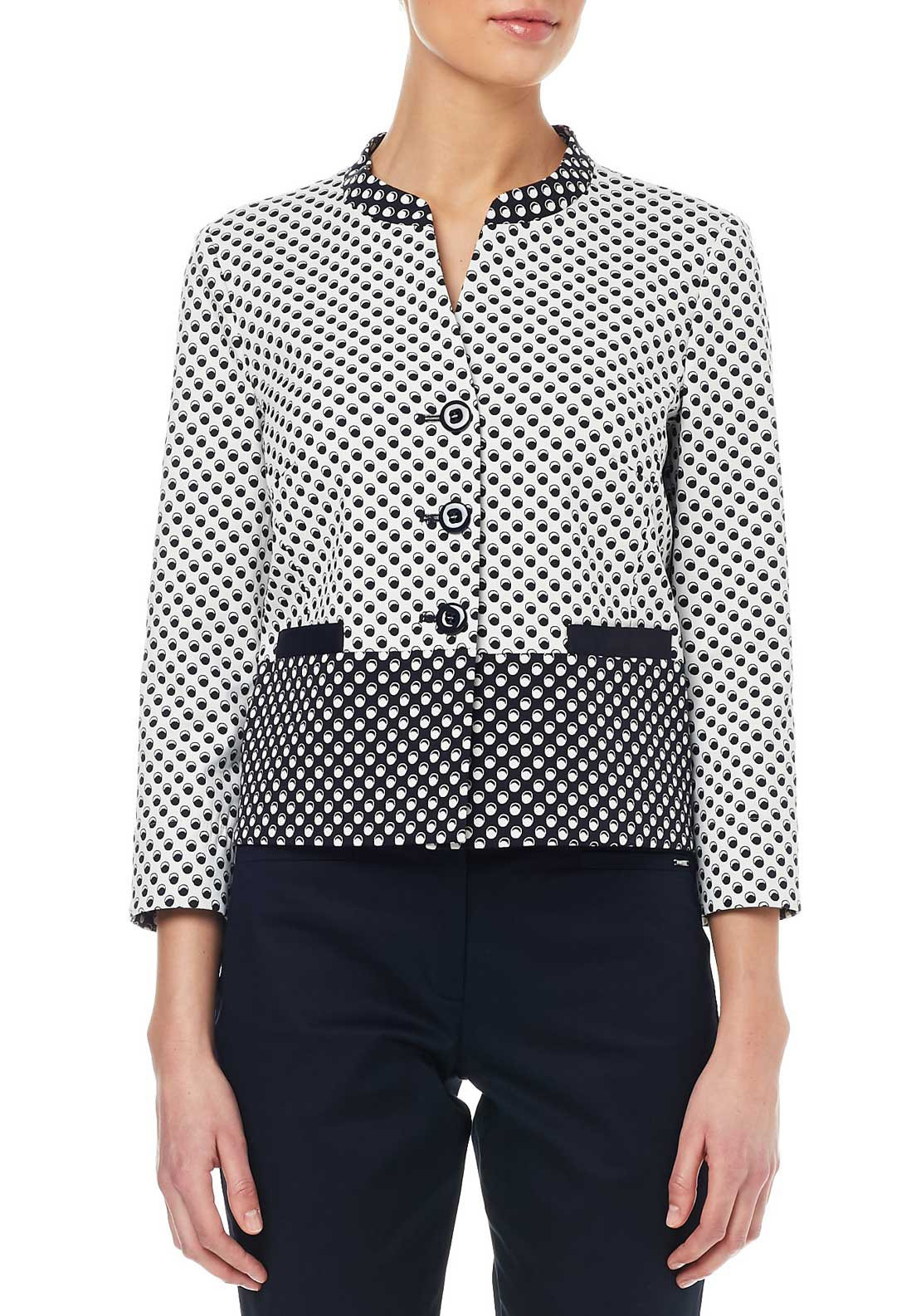 Gerry Weber Circle Print Jacket, Black & Cream