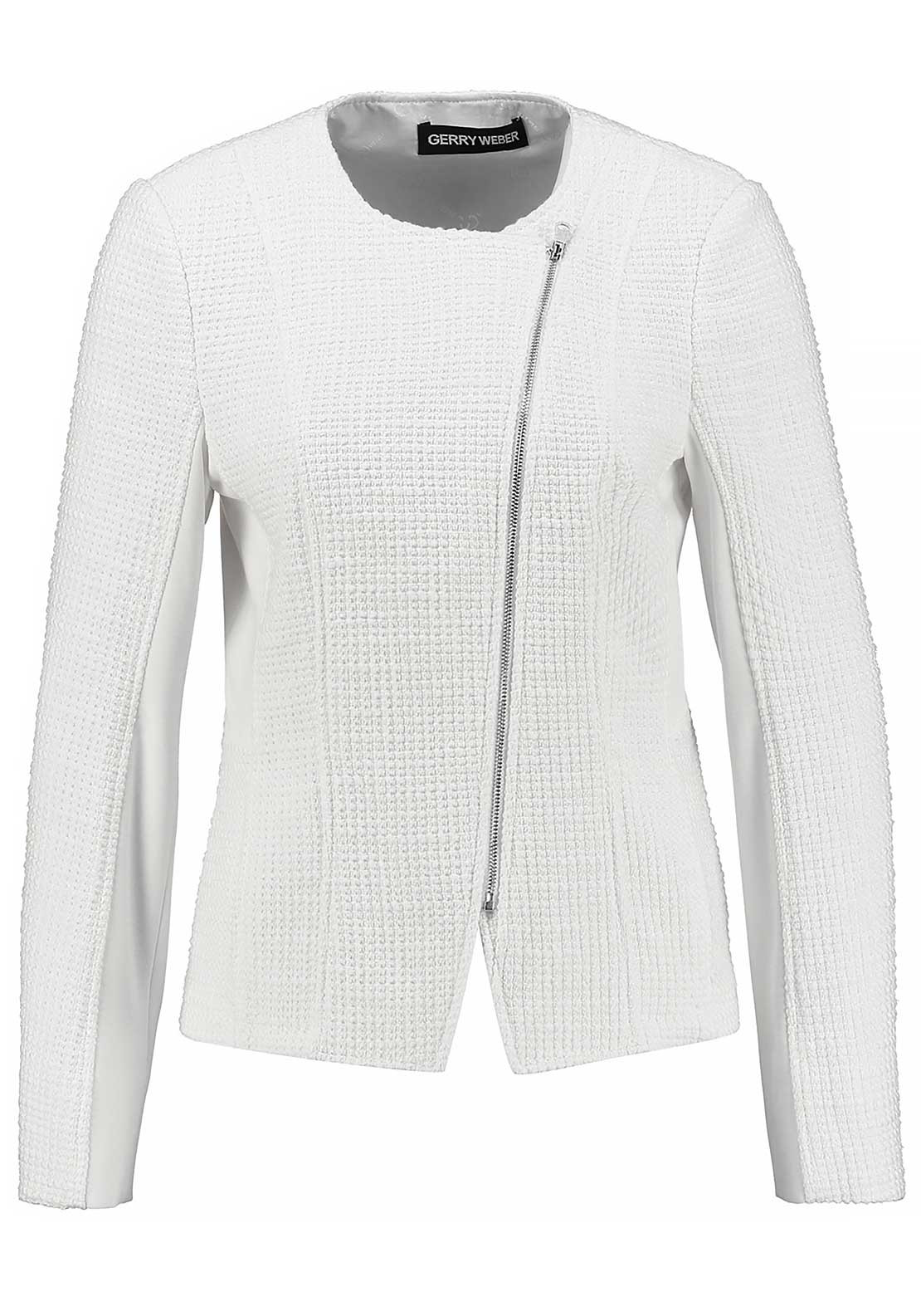 Gerry Weber Embossed Diagonal Zip Jacket, White