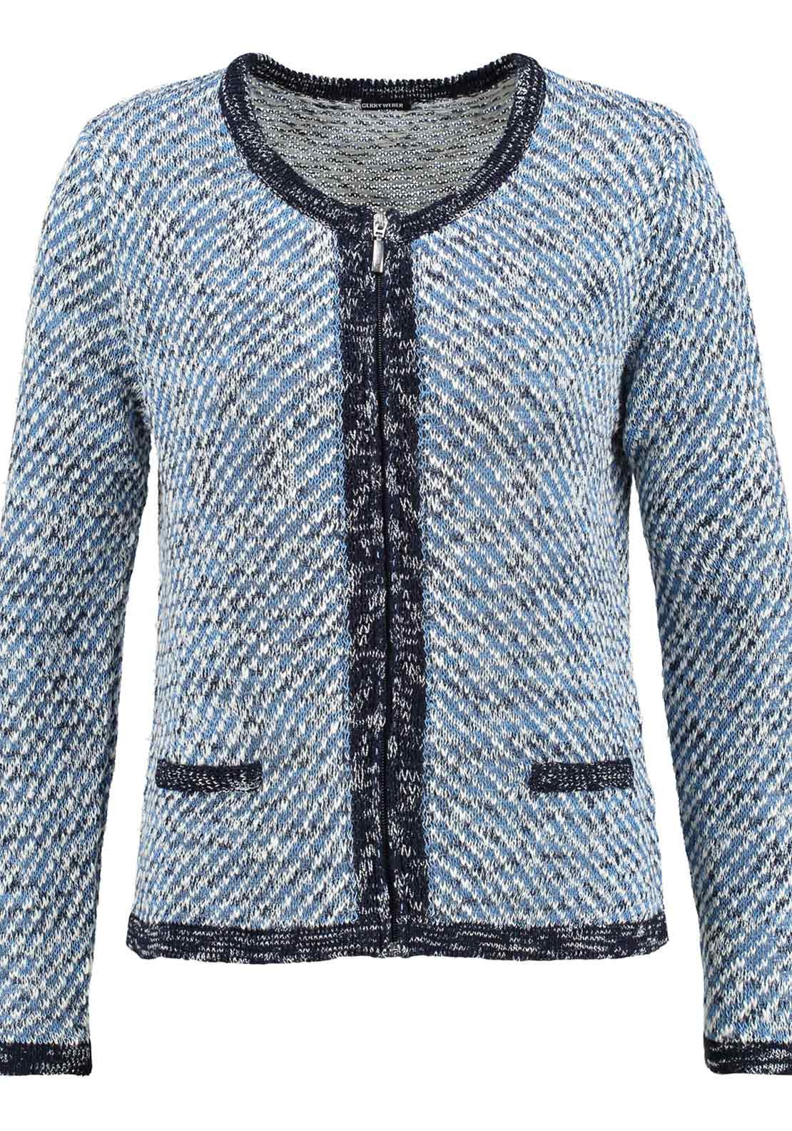 Gerry Weber Cotton Rich Knit Jacket, Blue