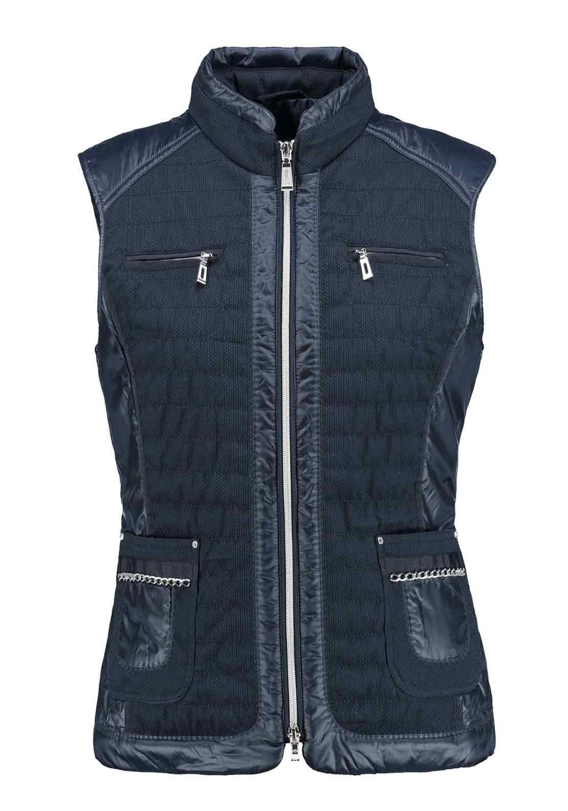 Gerry Weber Chain Embellished Quilted Gilet, Navy
