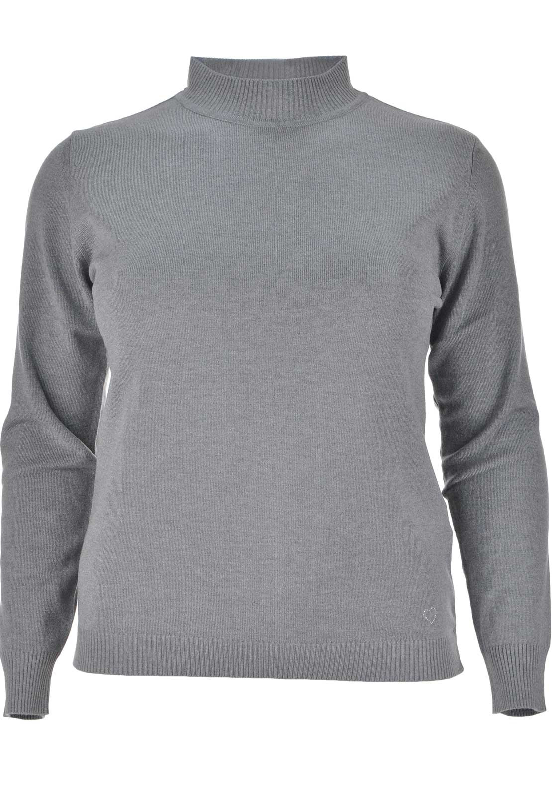 Lebek Ribbed Polo Neck Sweater Jumper, Grey