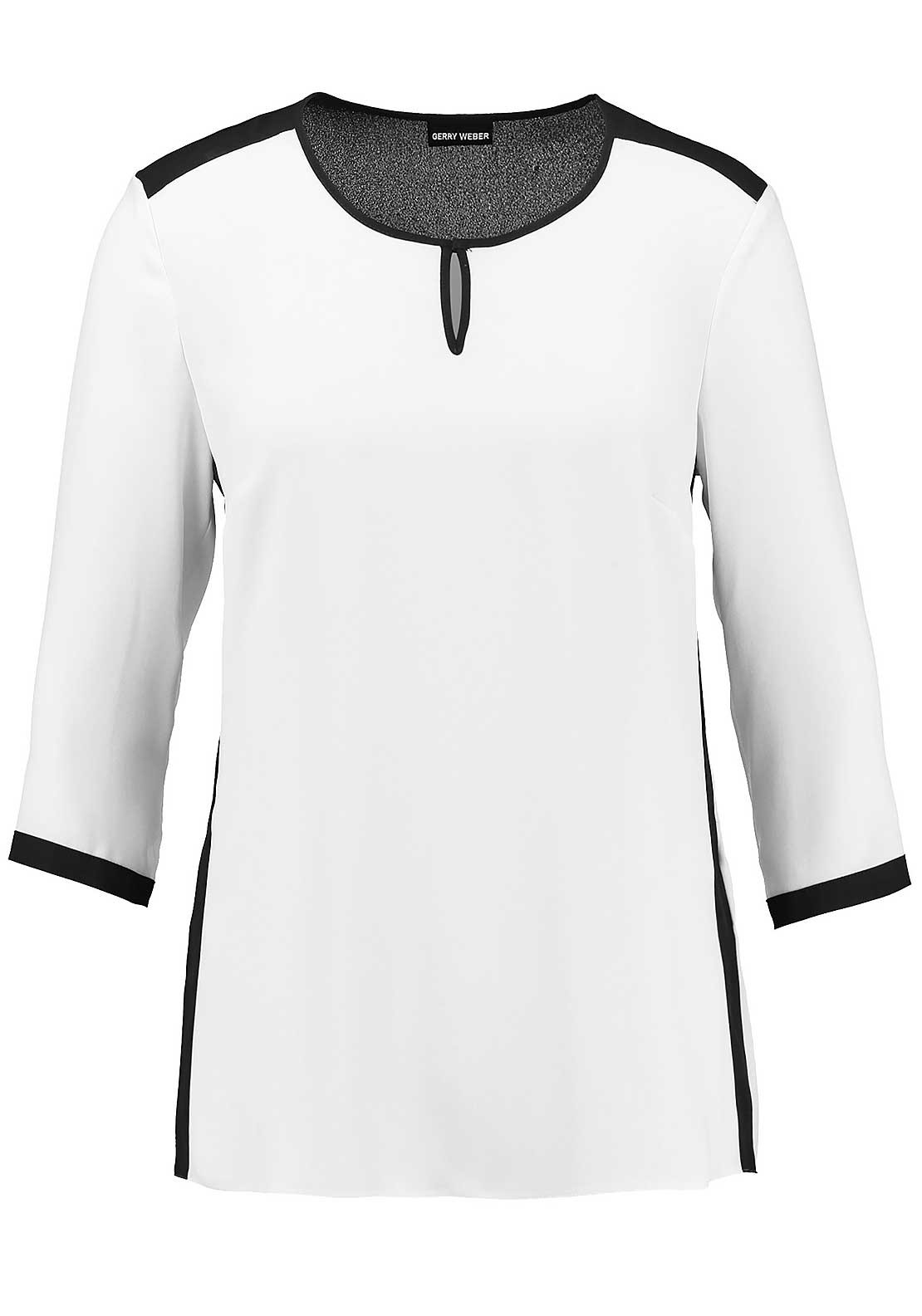 Gerry Weber Chiffon Three Quarter Length Sleeve Panel Top, White