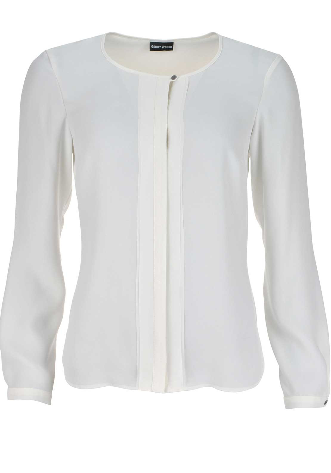 Gerry Weber Pleated Panel Long Sleeve Blouse, Ivory