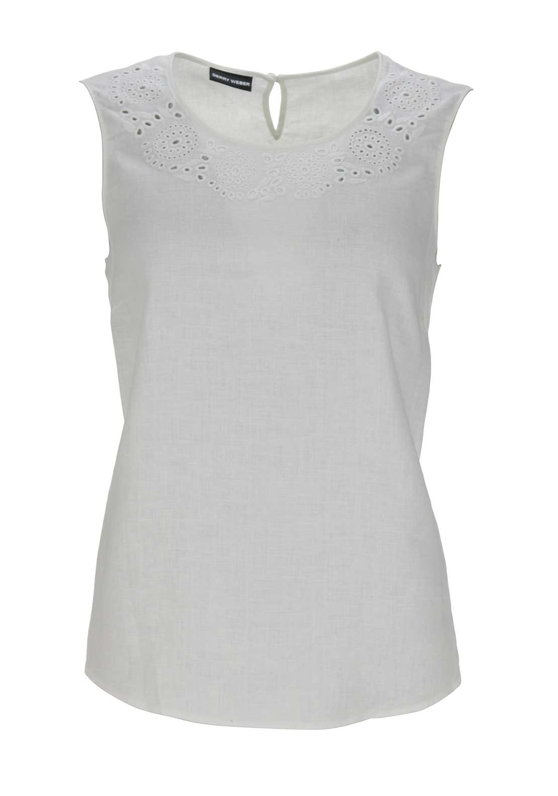 Gerry Weber Laser Cut Print Sleeveless Top, Off-White
