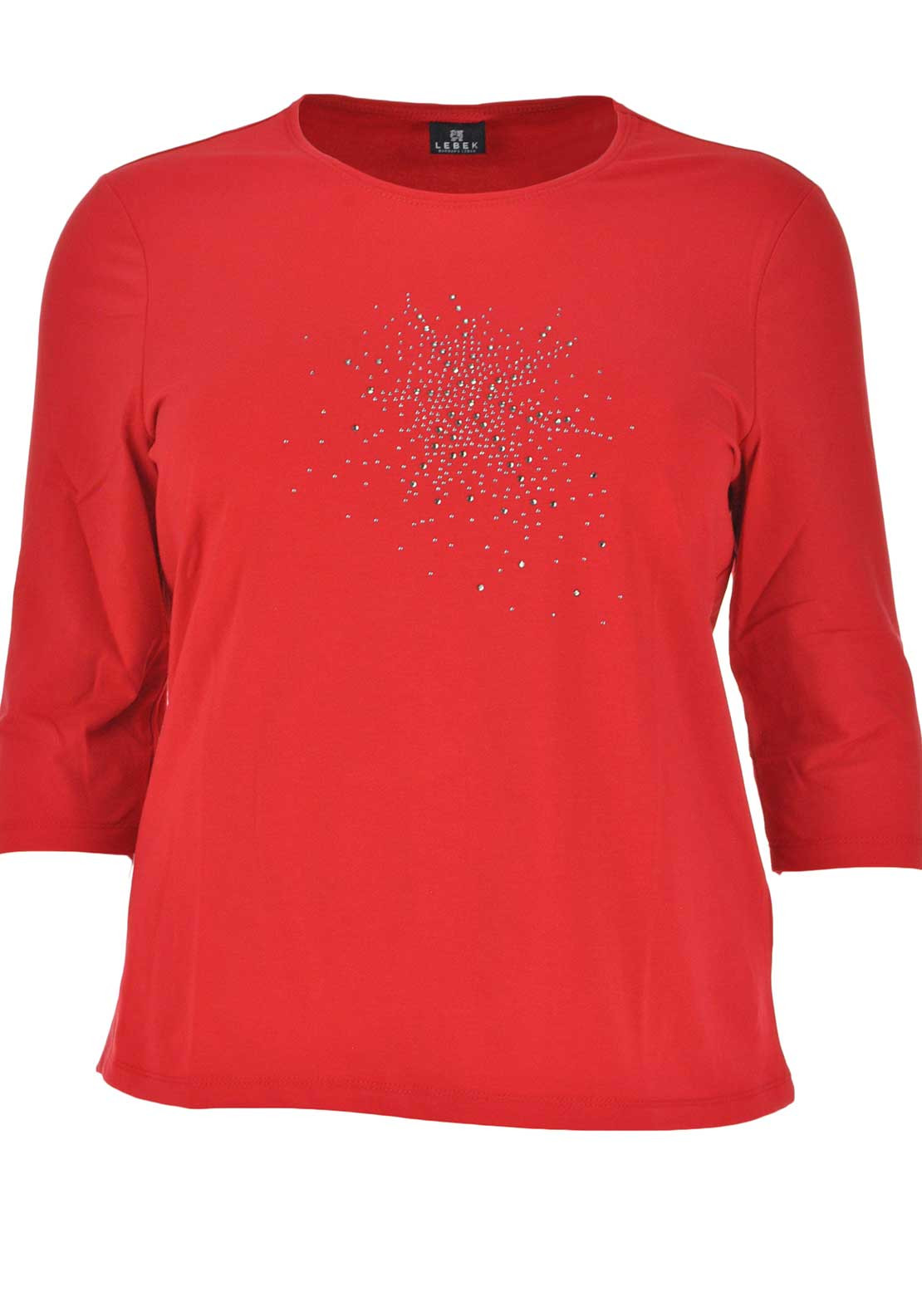 Lebek Rhinestone Embellished Half Sleeve T-Shirt, Red