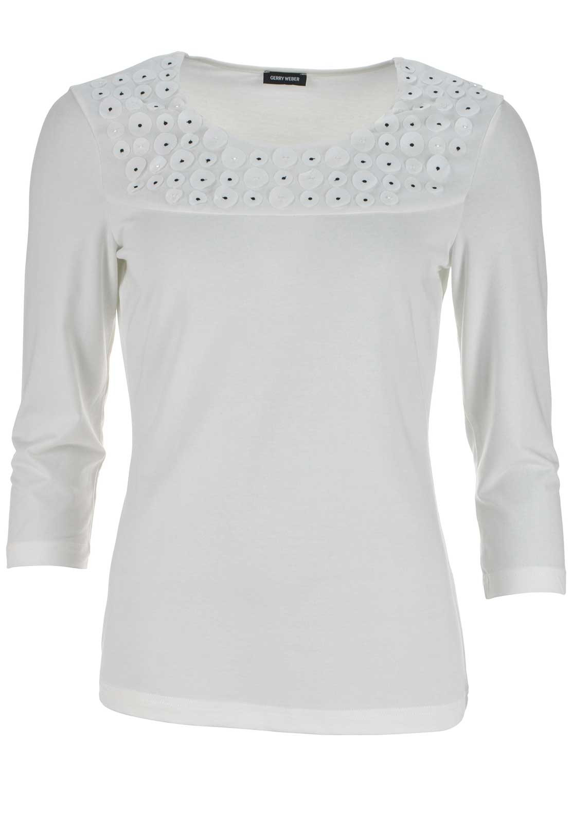 Gerry Weber 3D Circle Print Cropped Sleeve Top, Ivory